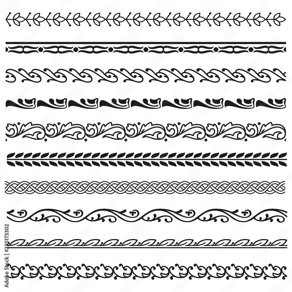 Fototapety, obrazy: Border, lines ornamental vinage set