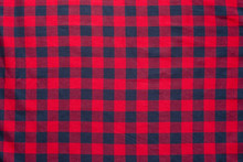 Checkered Plaid Material. Red ...