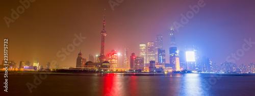 In de dag Stad gebouw Shanghai Skyline at night