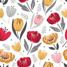 Modern Floral Seamless Pattern For Print, Textile, Fabric. Seasonal Background With Hand Drawn Flowers.