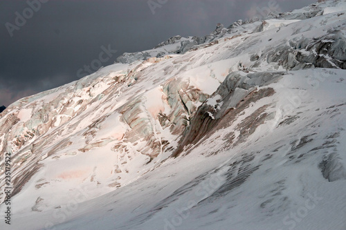 Valokuvatapetti View of an alpine glacier with its crevasses and seracs