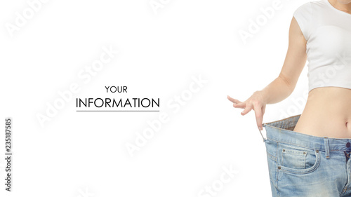 Fotografía  Woman in jeans is thin big size weight loss centimeter pattern on a white backgr