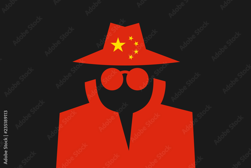 Fototapeta Chinese spy is doing espionage - surveillance and control made by China. Intelliegence agency and secret police in the country. Vector illustration