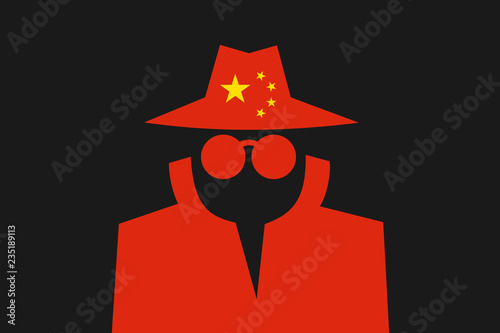 Fotografía  Chinese spy is doing espionage - surveillance and control made by China