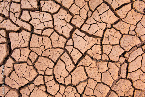 Cracked earth, cracked soil. texture of grungy dry cracking parched earth. Global worming effect.