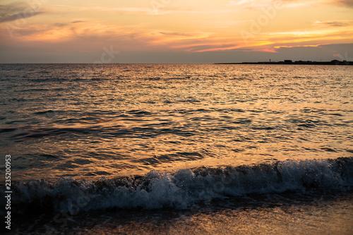 Foto op Plexiglas Zee zonsondergang Sunset. Beautiful sunset Baltic Sea. Painting Sea sunset