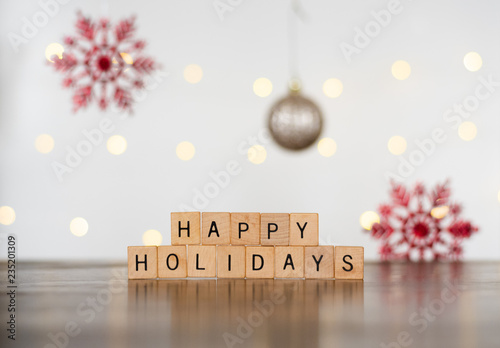 Fotografie, Obraz  2018 Seasonal Festive Photo Banner Idea of Happy Holidays Spelled Out of Wood Bl