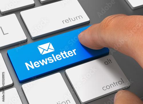Fototapeta newsletter pushing keyboard with finger 3d illustration obraz