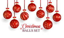 Red Glass Christmas Balls With...