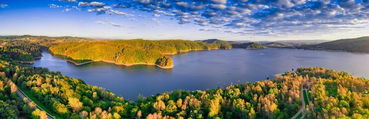 Solinskie lake in Bieszczady mountains in sunrise light