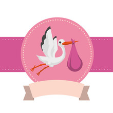 Cute Stork Baby Shower Card