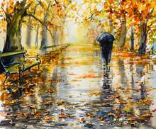 Park In Rainy Autumn Day. Pict...