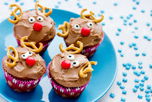 Funny Christmas Reindeer Cupcakes Delicious Gift For Kids For Xmas New Year Holidays