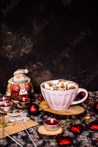 Printed kitchen splashbacks Chocolate Good New Year spirit. Coffee with marshmallows and cinnamon. Pink mug. Cooking yourself.Home comfort. New Year. Christmas time. Winter mood.Letter to Santa Claus. To Do list.New Year resolution