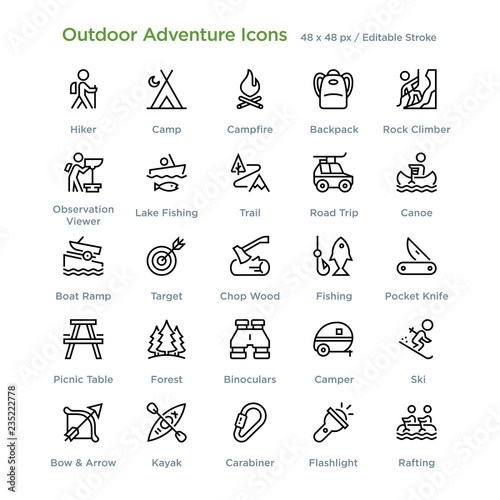 фотографія  Outdoor Adventure Icons -  - Outline styled icons, designed to 48 x 48 pixel grid