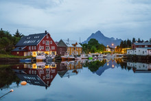 Northern Norway, Lapland, Small Village At A Fjord