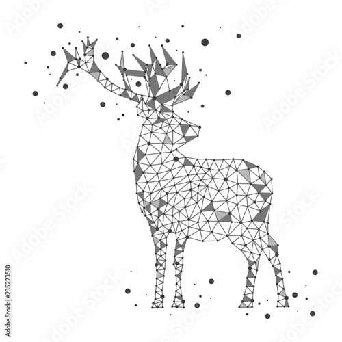 Polygonal deer on white background Fototapet