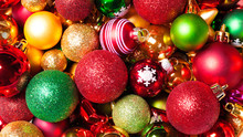 Christmas Baubles Closeup Background