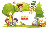 Fototapeta Fototapety na ścianę do pokoju dziecięcego - Vector Illustration Of Kids And Animals