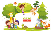 Vector Illustration Of Kids And Animals
