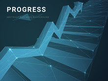 Abstract Modern Business Background Vector Depicting Progress With Stars And Lines In Shape Of A Staircase With An Arrow On Blue Background.