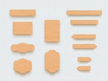 Wooden Sign Plain Empty 3d Board Banner Elements Set