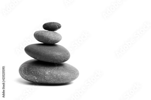 Fotografía Stacked smooth grey stones