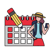 Tourist Woman Calendar Labor Day