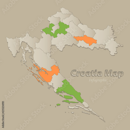 Croatia map with individual states separated, infographics vector ...