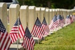 canvas print picture - Military Headstones and Flags Shallow Depth of Field