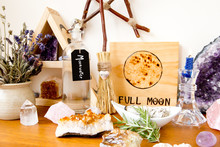 Full Moon Altar Setup For Ritual, With Herbs, Crystals, Candle, Moonwater  And Branch Pentagram