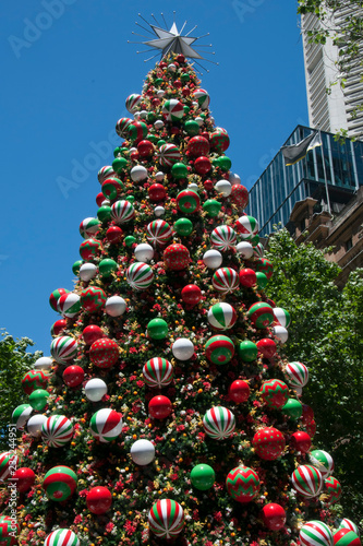 Christmas In Australia Background.Sydney Australia Decorated Christmas Tree In Martin Place