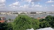 amazing panorama of Danube embankment in Budapest from mountain in sunny day