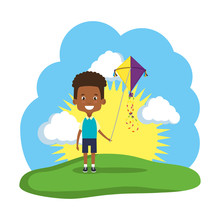 Little Black Boy Flying Kite I...