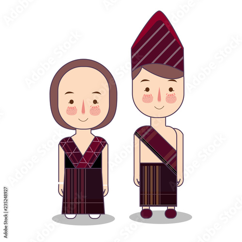 Photo Batak couple traditional national clothes of Indonesia