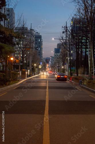Fotobehang Seoel Down hill at Gangnam Seoul, at night