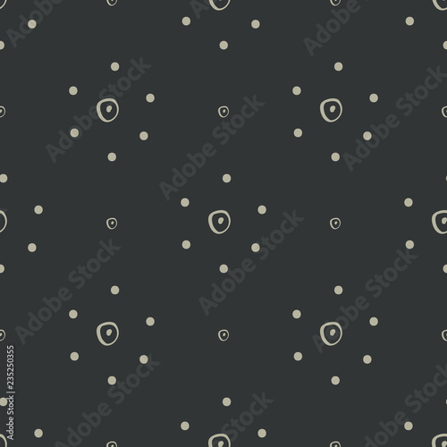 Fotografie, Obraz  Simple abstract hand drawn tan dotted flowers on a black background