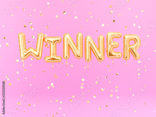 Fotografia Winner sign letters with golden confetti