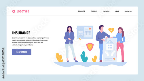Vector web site gradient design template. Family house, car and health medical life insurance. Landing page concepts for website and mobile development. Modern flat illustration.