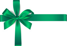 Vector Green Bow With Horizontal And Vertical Ribbons Isolated On White Background.