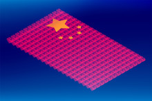 Isometric Love Heart Box Transparency, China National Flag Shape, Blockchain Cryptocurrency Concept Design Illustration Isolated On Blue Gradients Background, Editable Stroke