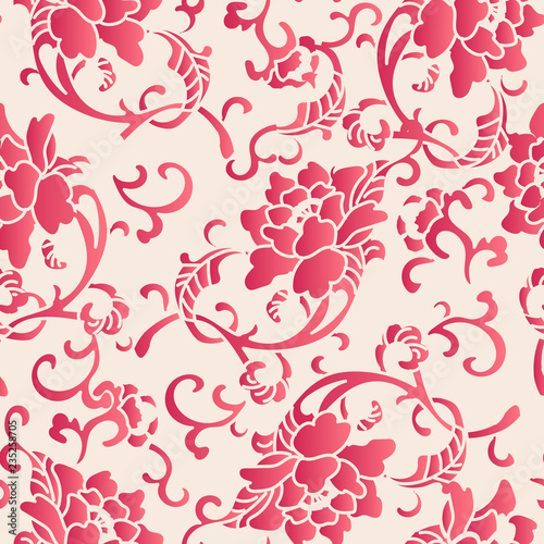 Leinwand Poster Elegant seamless Chinese style botanic garden peony flower pattern background