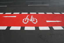 Designated Cycleway Bike Lane Painted Vibrant Red