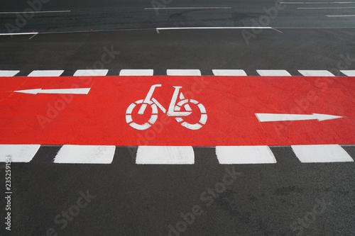 designated cycleway bike lane painted vibrant red Wallpaper Mural
