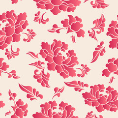 Fototapeta Peonie Elegant seamless Chinese style botanic garden peony flower pattern background
