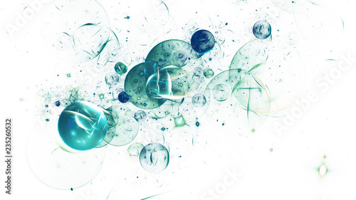 Abstract shiny teal bubbles. Colorful holiday background. Digital fractal art. 3D rendering.