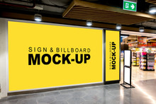 Three Size Of Blank Billboard Mock Up In The Mall