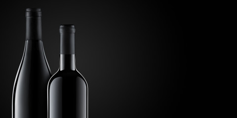 Template concept two wine bottle for your design and advertising company promotion your of product on black background with copy space. Wine bottle mockup. Front view