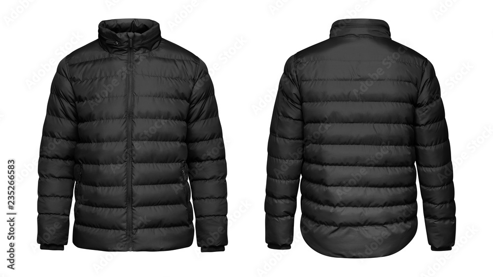 Fototapeta Blank template black down jacket with zipped, front and back view isolated on white background. Mockup winter sport jacket for your design