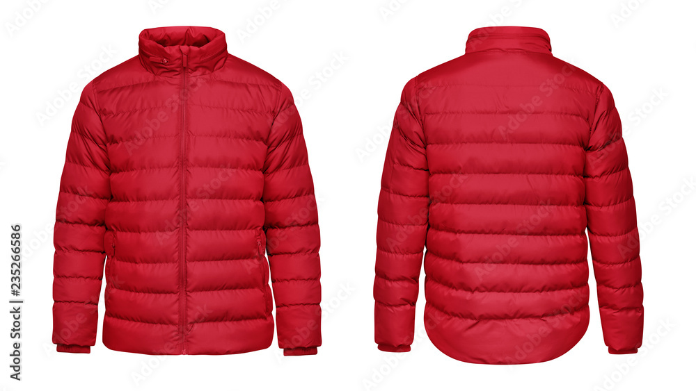 Fototapeta Blank template red down jacket with zipped, front and back view isolated on white background. Mockup winter sport jacket for your design